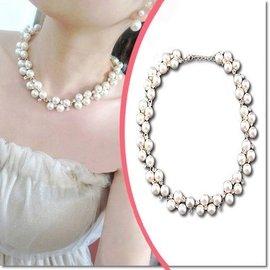 ╭蕾兒0509╮FA051~韓國 閃鑽氣質珍珠宴會短款項鍊鎖骨鍊項飾品