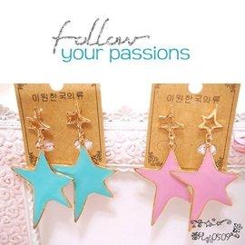 ╭蕾兒0509╮韓國 清新粉嫩不規則滴釉星星奢華可可風長款耳環耳釘