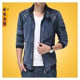林依浩紡秋裝 拼皮牛仔夾克男修身立領外套大碼 夾克衫
