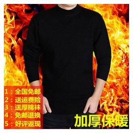 鼕季青年男士羊毛衫 毛衣男V領純色加厚不加絨商務大碼男裝針織衫