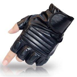 :男士戶外健身 騎行戰術半指手套 PU高仿皮男款露指手套 加厚格鬥手套