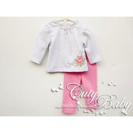 春款長袖兒童套裝女童純棉 嬰兒衣服女寶寶兩件套T恤褲子 200元