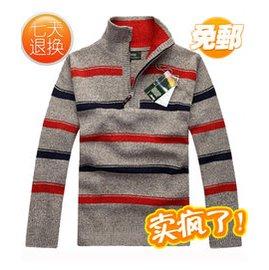 包郵男士毛衣青年 半高領羊毛衫 針織衫毛線大碼外套