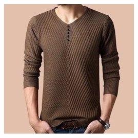 鼕裝正品海瀾之家大碼男裝男士毛衣純色v領針織衫純棉羊毛衫