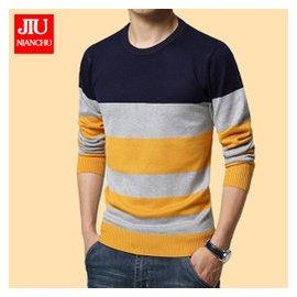 男士套頭毛衣青年 條紋修身針織衫加絨加厚圓領毛衫潮大碼學生