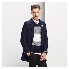 秋鼕季男士羊毛呢子大衣 風衣青年妮子修身型短款外套英倫純色