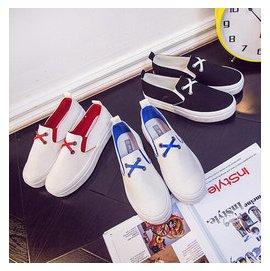 夏懶人鞋一腳蹬女鞋平底樂福鞋白色鞋子女帆布鞋小白鞋平跟女板鞋DL7291~毛菇小象~