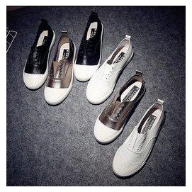套腳 ulzzang小白鞋 板鞋pu皮樂福鞋低幫女式 鞋帆布鞋DL7299~毛菇小象~