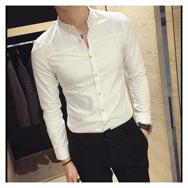 2016  男士青年長袖襯衫簡約白色好 修身襯衣