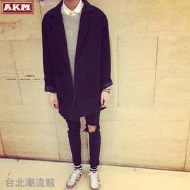 娜娜小屋 AKM 男士毛呢大衣日系學生中長款風衣修身英倫風潮流外套