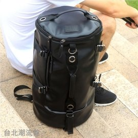娜娜小屋 圓筒復古背包皮大容量單肩書包男多 後背包旅行水桶行李包