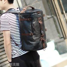 娜娜小屋 圓筒 背包大容量單肩書包男士多 後背包旅行水桶行李包健身
