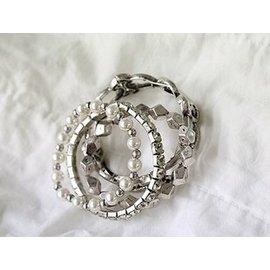 潮品珍珠鑲鑽多件套女款手飾洋氣 Naning9串珠亞克力手鏈