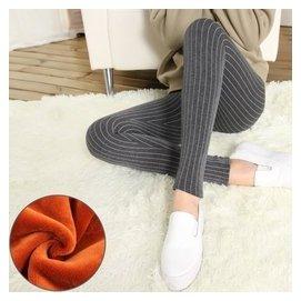 豎條紋純棉加絨打底褲加厚女士外穿小腳褲修身顯瘦保顏色:深灰色