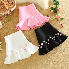 秋裝女裝新品甜美高腰包臀魚尾裙花邊荷葉邊太空棉短裙半身裙