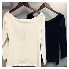 2015春秋純棉白色一字領露肩性感T恤女士修身顯瘦上衣長袖打底衫