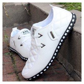 春秋板鞋男士 鞋 潮流透氣男鞋英倫豆豆潮鞋白色潮男帆船鞋