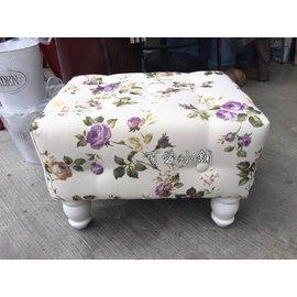 台中 ~可愛小舖傢俱家飾 館~歐式古典鄉村風紫色玫瑰花布沙發矮凳 典雅 氣質 椅子 兒童椅