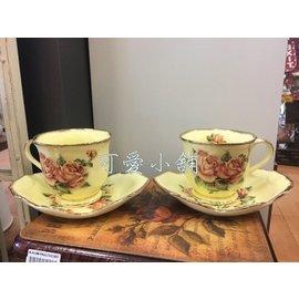 台中 可愛小舖家飾傢俱   歐式古典鄉村風花卉精緻骨瓷玫瑰花金色描金兩杯兩盤餐廳下午茶杯組