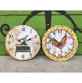 台中 ~可愛小舖傢俱家飾 ~歐式美式古典鄉村風仿舊木板製板鐘公雞書本小鳥動物 時鐘壁鐘掛鐘