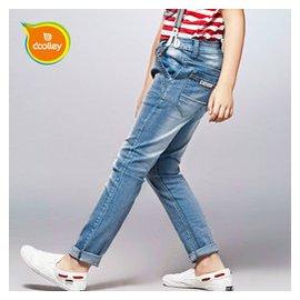 兒 男童牛仔褲春秋夏裝純棉11弔帶褲12男孩背帶褲子13大童15歲