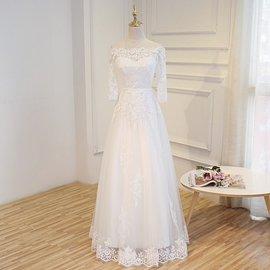 韓式2017 長拖尾蕾絲簡約婚紗禮服新娘結婚一字肩長袖齊地孕婦 本禮服 出租均可 C275