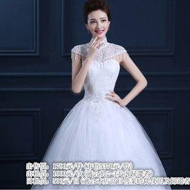 小立領婚紗 流蘇短袖修身齊地白色唯美婚紗 500元