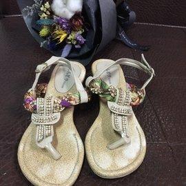 鞋~楔形鑽石度假風涼鞋 拖鞋