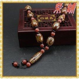 ~柴鋪~正品 天然西藏瑪瑙  黃三九眼吊墜天珠項鍊   女款長毛衣鏈^(大號天珠^)