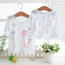 小靈寶夏薄款竹纖維嬰兒寶寶內衣套裝男孩女童兒童短袖空調服睡衣