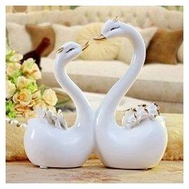 歐式陶瓷情侶天鵝擺件家居裝飾客廳電視櫃陶瓷工藝品新房結婚 小號天鵝