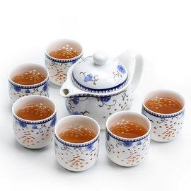 景德鎮玲瓏鏤空功夫茶具透明大茶壺大茶杯整套青花瓷 套裝