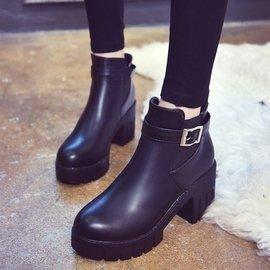 2016 短靴皮帶扣防水臺粗跟中筒套腳馬丁靴高跟厚底女靴子