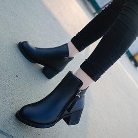 單鞋2016 新品短靴女中跟圓頭側拉鏈馬丁靴粗跟短筒裸靴中筒靴