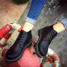 短靴女春秋 單靴平底系帶馬丁靴女英倫風學生百搭機車裸靴