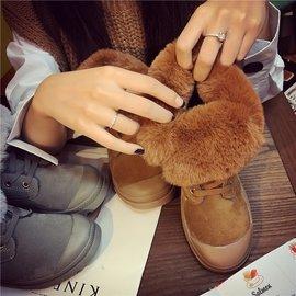 韓國短靴女2016 系帶磨砂短靴女平底舒適鞋子女棉短靴學生
