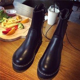 2016  中筒靴女后系帶粗跟馬丁靴圓頭低跟靴子黑色短靴