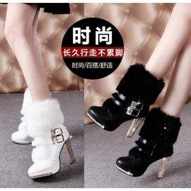 2016 馬丁靴冬天毛絨毛毛短靴子女靴粗跟高跟鞋女鞋保暖皮帶扣^(499元^)
