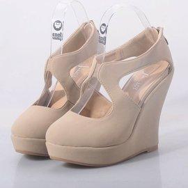 虧本 坡跟女鞋厚底單鞋高跟鞋 裸色百搭舒適甜美圓頭秋 女鞋休閒鞋 鞋跑步鞋網球鞋豆豆鞋懶人