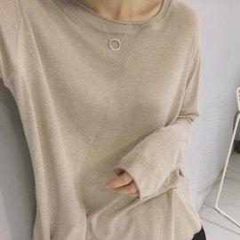 ~印象閣樓~ 不規則斜裁簡約純色T恤女長袖 寬鬆學生修身針織打底衫上衣女