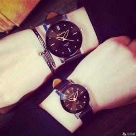樂町潮流 手錶 韓國 潮流女學生復古 簡約男錶女錶黑白 帶