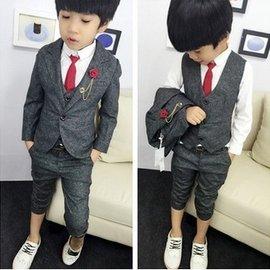 2016春秋 男童兒童紳士馬甲花童禮服小西裝西裝套裝三件套^(399元^)