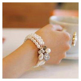 韓國 飾品正品  名媛氣質 優雅水晶珍珠花朵多層手鏈