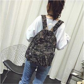 塗鴉印花帆布雙肩包男女中學生書包 大容量旅行包