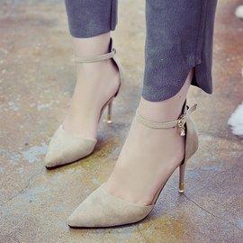 淺口紅色尖頭高跟鞋細跟性感單鞋一字扣中空單鞋工作女鞋