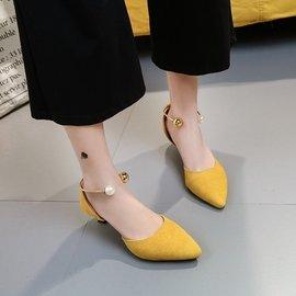 春  尖頭簡約性感淺口珍珠搭扣中空涼鞋中跟單鞋子