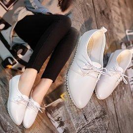 春夏平底豆豆鞋系帶平跟尖頭小白鞋學生淺口 單鞋女鞋