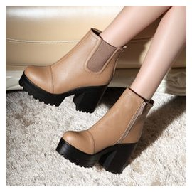 大碼40~43防水臺 機車靴秋鼕 高跟馬丁靴粗跟短筒女靴短靴