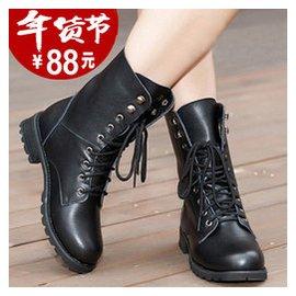 2015春秋 真皮馬丁靴中筒情侶短靴英倫平底復古軍靴大碼女單鞋