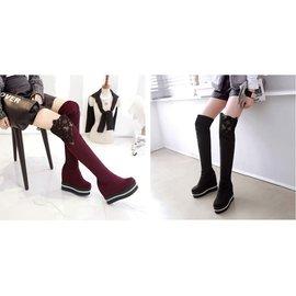 ~自然美~AK~80~ :黑色 35碼單層~鞋百搭內增高蕾絲水鑽鬆糕厚底高筒過膝靴瘦腿彈力